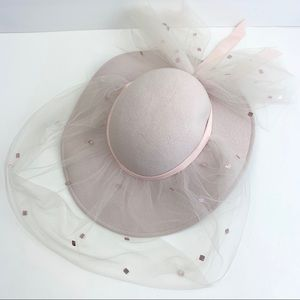 Vintage Sonni Wool Pink Tulle Sequin Detail Hat